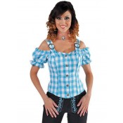 Tiroolse Damesblouse Blauw-Wit