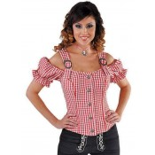 Tiroolse Damesblouse Rood-Wit