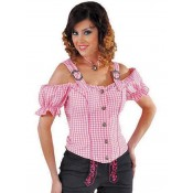 Tiroolse Damesblouse Roze-Wit