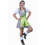 Tiroler jurk kort Wenzel bruin/wit OP=OP