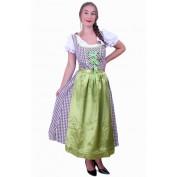 Tiroler jurk lang Wenzel bruin/wit