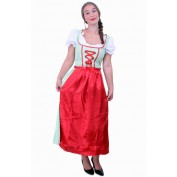 Tiroler jurk lang Sarah groen/wit ruitje