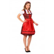 Dirndl Jurk Nadina Zwart-Rood