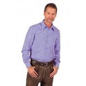 Tiroler geblokte blouse blauw wit